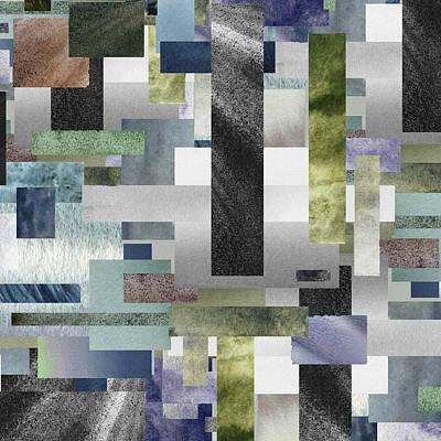 Royalty-Free and Rights-Managed Images - Gray Geometrical Watercolor Decorative Blocks III by Irina Sztukowski