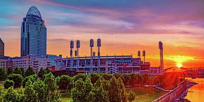Rusty Trucks - Great American Ball Park and Cincinnati Sunrise Panorama by Gregory Ballos