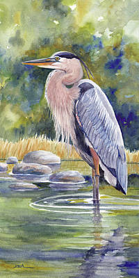 Painting - Great Blue Heron In A Stream I by Janet Zeh