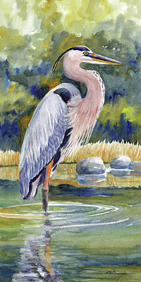 Painting - Great Blue Heron In A Stream II by Janet Zeh