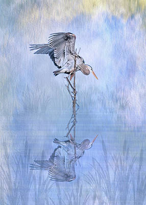 Wild Horse Paintings - Great Blue Heron Texture Reflection - Vertical by Patti Deters