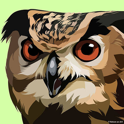 Mixed Media Royalty Free Images - Great horned owl Royalty-Free Image by Stars on Art