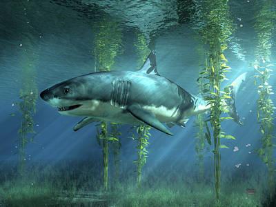 Cartoons Tees - Great White Shark in the Seaweed by Daniel Eskridge
