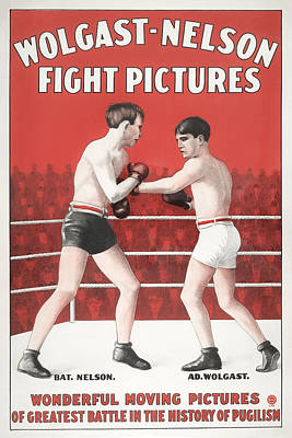 Sports Paintings - Greatest Battle in the History of Pugilism - Movie Poster 1910 by War Is Hell Store
