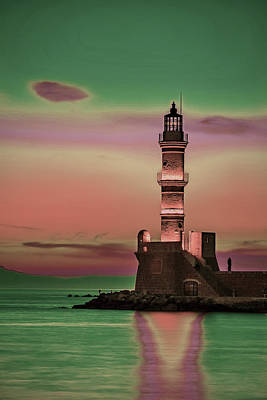 Surrealism Royalty Free Images - Greece Lighthouse Sea Ocean Sunrise - Surreal Art by Ahmet Asar Royalty-Free Image by Celestial Images