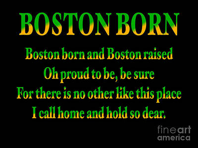Winter Animals Rights Managed Images - Green and Gold Boston Born Quote Royalty-Free Image by Douglas Brown