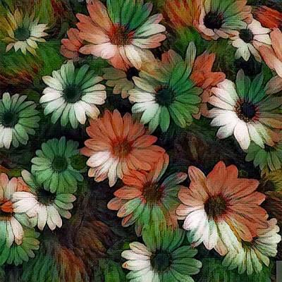 Unicorn Dust - Green and orange flowers by Steven Wills