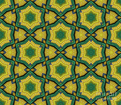 Digital Art - Green and Yellow Star Pattern by Mary Machare