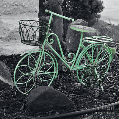 Abstract Male Faces - Green Bike by J Lloyd