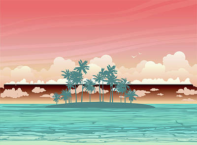 Royalty-Free and Rights-Managed Images - Green coconut island ans sea on a sunset sky with clouds. tropical seascape illustration.  by Julien