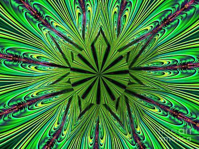 Lovely Lavender - Green Fractal Kaleidoscope Mandala Under Glass Abstract by Rose Santuci-Sofranko