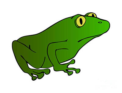 Drawings Royalty Free Images - Green Frog With Yellow Eyes Royalty-Free Image by Michal Boubin