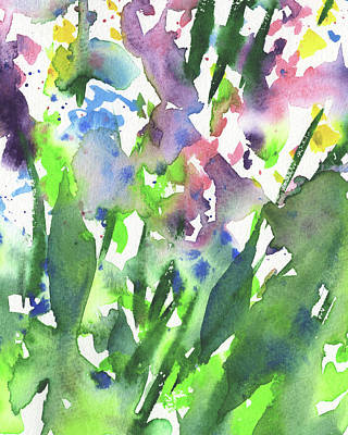 Royalty-Free and Rights-Managed Images - Green Garden With Flower Abstract Watercolor by Irina Sztukowski