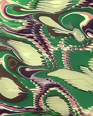 Royalty-Free and Rights-Managed Images - Green Gray Pink Abstract Feathers Collection II by Irina Sztukowski