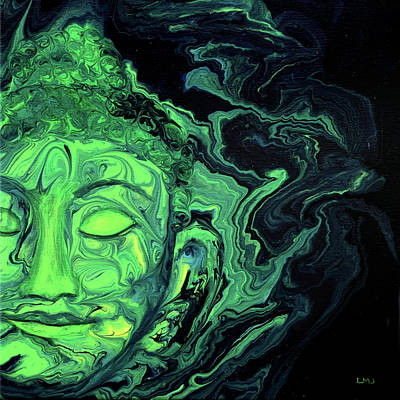 Painting - Green Heart Space Buddha Face by Laura Iverson