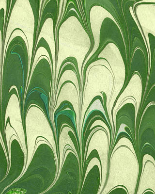 Royalty-Free and Rights-Managed Images - Green Leaves Wave Organic Pattern Decor II by Irina Sztukowski