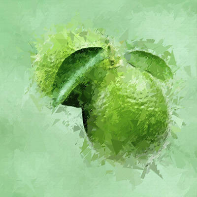 Lovely Lavender - Green Limes Abstract Fruit Pane 3 by David Dehner