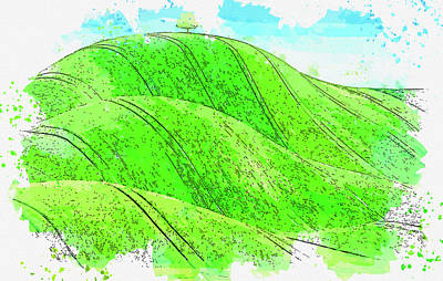 Royalty-Free and Rights-Managed Images - Green Meadow Countryside, watercolor, by Ahmet Asar by Celestial Images