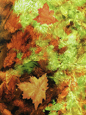 Royalty-Free and Rights-Managed Images - Green Orange Brown Fallen Leaves Abstract Watercolor  by Irina Sztukowski