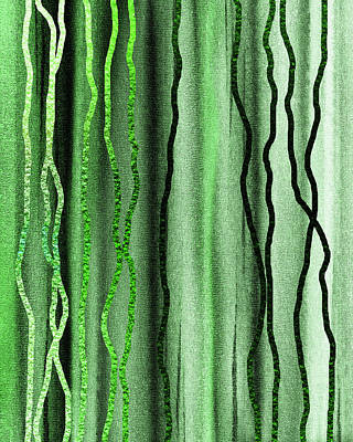 Royalty-Free and Rights-Managed Images - Green Organic Glow And Lines Decorative Art by Irina Sztukowski