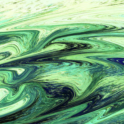 Royalty-Free and Rights-Managed Images - Green Reflections Abstract Art by Irina Sztukowski