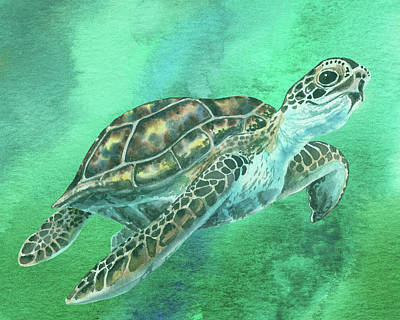 Old Masters Royalty Free Images - Green Turtle In Emerald Sea Watercolor Royalty-Free Image by Irina Sztukowski