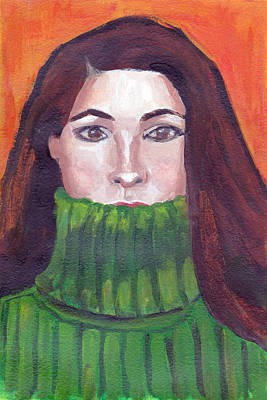 Painting - Green Turtleneck by Tina Lewis