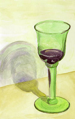 Painting - Green Wine Glass by Laura Dozor