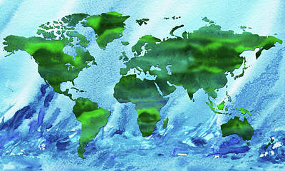 Royalty-Free and Rights-Managed Images - Green World Blue Ocean Watercolor Map Silhouette  by Irina Sztukowski