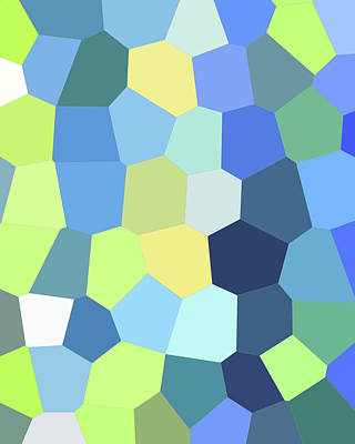 Royalty-Free and Rights-Managed Images - Green Yellow Blue Mosaic Art I by Irina Sztukowski