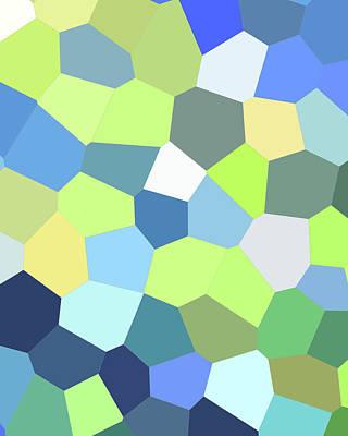 Royalty-Free and Rights-Managed Images - Green Yellow Blue Mosaic Art II by Irina Sztukowski