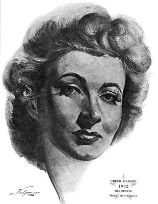 Drawings Royalty Free Images - Greer Garson by Volpe Royalty-Free Image by Stars on Art