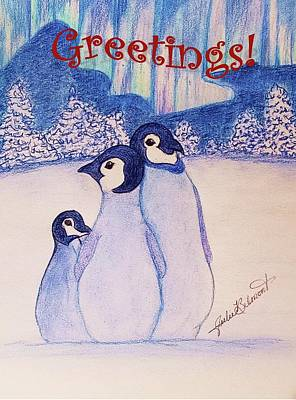 Drawing - Greeting Penguins by Julie Belmont