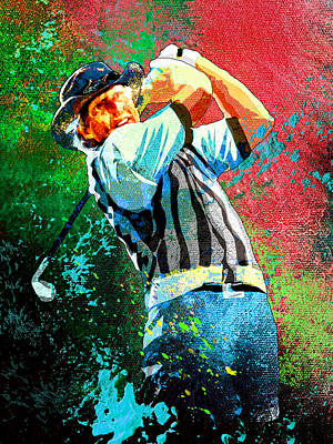 Sports Paintings - Greg Norman Dream 01 by Miki De Goodaboom