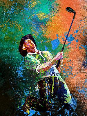 Sports Paintings - Greg Norman Dream 02 by Miki De Goodaboom