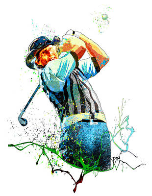 Sports Paintings - Greg Norman Passion 01 by Miki De Goodaboom