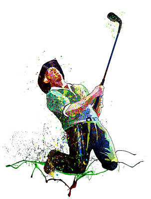 Sports Paintings - Greg Norman Passion 02 by Miki De Goodaboom
