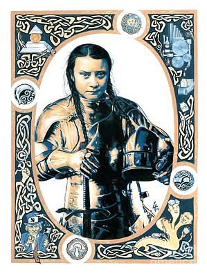 Painting - Greta Thunberg, Environmental Champion by Linda Laforge