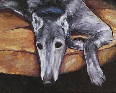 Painting - Greyhound Lounging by Joan Frimberger