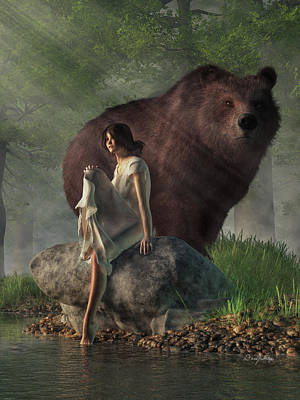 Surrealism Royalty-Free and Rights-Managed Images - Grizzly Bear and Girl in a Nightgown by Daniel Eskridge