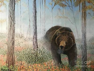 Painting - Grizzly in Autumn Fog by Pam Fries