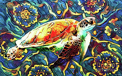 Studio Grafika Vintage Posters - Groovy Turtle by Tina LeCour