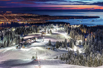 Ps I Love You - Grouse Mountain Ski resort at Dusk with a view of Vancouver city by Pierre Leclerc Photography