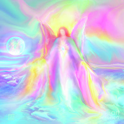 Painting - Guardian Angel Lei Andra with the Dolphins by Glenyss Bourne