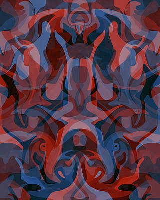 Animals Digital Art Royalty Free Images - Guardians of the Jungle 2 - Contemporary Abstract Painting - Blue, Red Royalty-Free Image by Studio Grafiikka