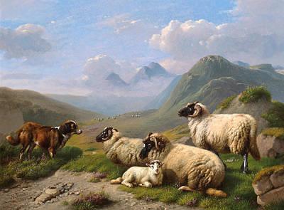 Thomas Kinkade Rights Managed Images - Guarding the sheep Royalty-Free Image by Artistic Panda