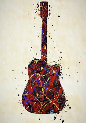 Music Paintings - Guitar Color Splash 2 by Dan Sproul