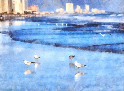 Digital Art - Gull Talk by SL Ernst