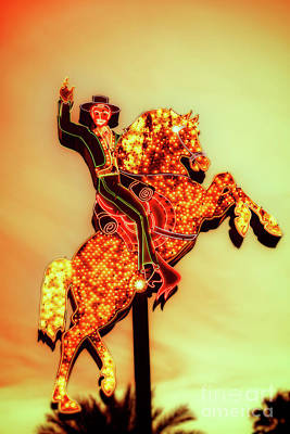 Photograph - Hacienda Horse and Rider Sign in Las Vegas by Bryan Mullennix