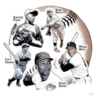Sports Royalty-Free and Rights-Managed Images - Hall of Famers by Greg Joens